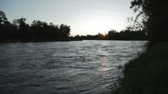 Bow River at Sunset Stock Footage