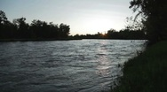 Stock Video Footage of Bow River at Sunset