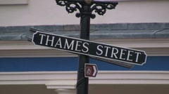Thames Street, old english street sign in the rain HD Stock Footage