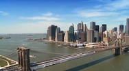 Stock Video Footage of Aerial view of Manhattan, Financial District and Brooklyn Bridge, NY,USA
