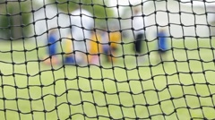 Kids Soccer Game with focus on net Stock Footage