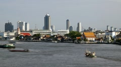 Nautical Vessels on the Chao Phraya River, Bangkok, Thailand, Asia, T/Lapse Stock Footage