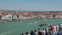 Cruise ship departing Venice Italy P HD 1274 Stock Footage