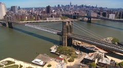Aerial view of Manhattan the Financial District and Brooklyn Bridge, NY,USA Stock Footage