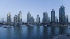 Dusk to night Time Lapse transition of Dubai Marina, Dubai, UAE Stock Footage