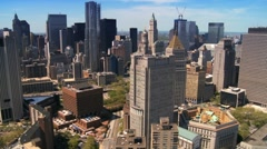 Skyline Helicopter Aerial view of Downtown Manhattan, NY, USA - stock footage