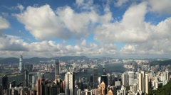 Hong Kong Harbour from Victoria Peak, China, Asia - stock footage