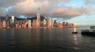Hong Kong Harbour and Skyline with Victoria Peak, China, Asia Stock Footage