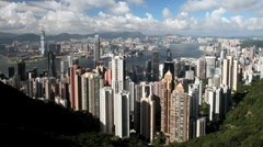Stock Video Footage of Hong Kong Harbour and Business Quarter from Victoria Peak,