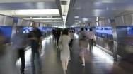 People walking on an elevated walkway, Hong Kong, China, Asia Stock Footage