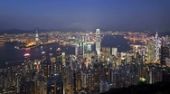 Hong Kong Harbour in natural and Illuminated light, China, Asia, T/Lapse Stock Footage
