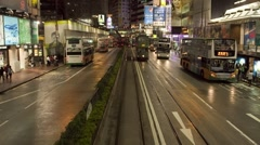 Modern Trams which run in central Hong Kong, China, Asia, T/Lapse - stock footage