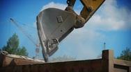 Yellow excavator loading gravel Stock Footage