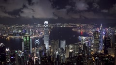 View of Victoria Harbour Hong Kong from Victoria Peak, China, T/Lapse - stock footage