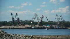 Port crane working Stock Footage