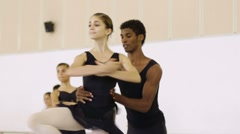Dancers dancing at school of ballet Stock Footage