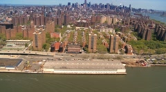 Aerial view of Midtown and Downtown Manhattan, Hudson River, NY, USA Stock Footage