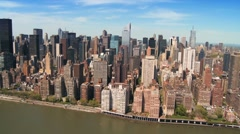 Aerial view of the Skyline of Midtown Manhattan and Financial District, NY, USA Stock Footage