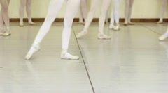 Young dancers practicing at school of ballet Stock Footage