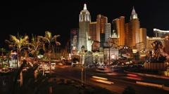 The Strip (Las Vegas Boulevard) at night, Las Vegas Stock Footage