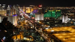 Time lapse of the Strip (Las Vegas Boulevard) at night, Las Vegas, USA Stock Footage