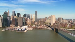 Aerial view of the Brooklyn Bridge Downtown Manhattan, NY, USA Stock Footage
