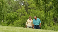 Senior couple walking dog through the park, closer shot Stock Footage