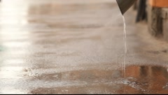 The jet of water from drain, closeup Stock Footage