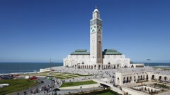 Hassan II Mosque, Casablanca, Morocco - T/Lapse Stock Footage
