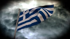 Facing Bad Weather: Greek Flag (HD) Stock Footage