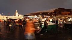 Djemaa el-Fna night market, Marrakech (Marrakesh), Morocco, North Africa, Africa - stock footage