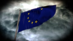 Facing Bad Weather: EU Flag (HD) Stock Footage