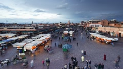 Djemaa el-Fna night market, Marrakech, Morocco Stock Footage