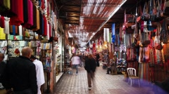 T/lpase inside the Marrakech Souq, Morocco Stock Footage
