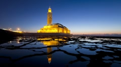 Hassan II Mosque, Casablanca, Morocco - T/Lapse - stock footage