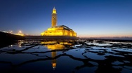 Stock Video Footage of Hassan II Mosque, Casablanca, Morocco - T/Lapse