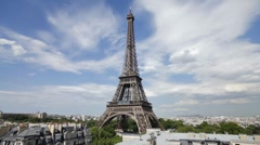 Eiffel Tower in natural light, Paris, France, Europe, T/Lapse - stock footage