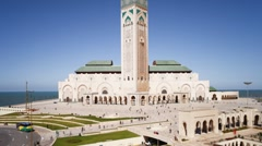 Hassan II Mosque, Casablanca, Morocco, North Africa, T/Lapse - stock footage