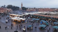 Stock Video Footage of Elevated view over the Food stalls at Djemaa el-Fna, Marrakech, T/Lapse