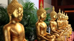Change of Focus, Golden Buddha Statues, Singapore, Asia Stock Footage
