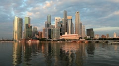 Singapore Financial District Skyline & Harbour in natural light, Asia - stock footage