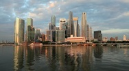 Stock Video Footage of Singapore Financial District Skyline & Harbour in natural light, Asia