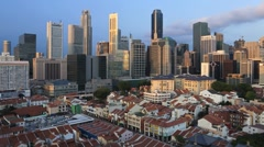 Transition Cityscape view over Chinatown, Singapore, Asia,T/Lapse Stock Footage