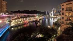 Clark Quay Illuminated a modern Marina Development in Singapore, Asia Stock Footage