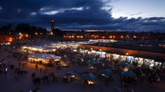 Stormy skies over Djemaa el-Fna, Marrakech, T/Lapse Stock Footage