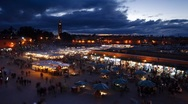 Stock Video Footage of Stormy skies over Djemaa el-Fna, Marrakech, T/Lapse