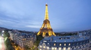 Stock Video Footage of Day to night T/lapse of the Eiffel Tower, Paris