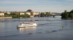 Pleasure boats on the River Vitava, by the weir, Prague, T/Lapse Stock Footage