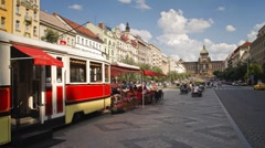 Tram cafe, Old Town, Prague, Czech Republic - T/lapse Stock Footage