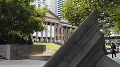 Statue outside the State Library, Melbourne, Australia 2K Stock Footage